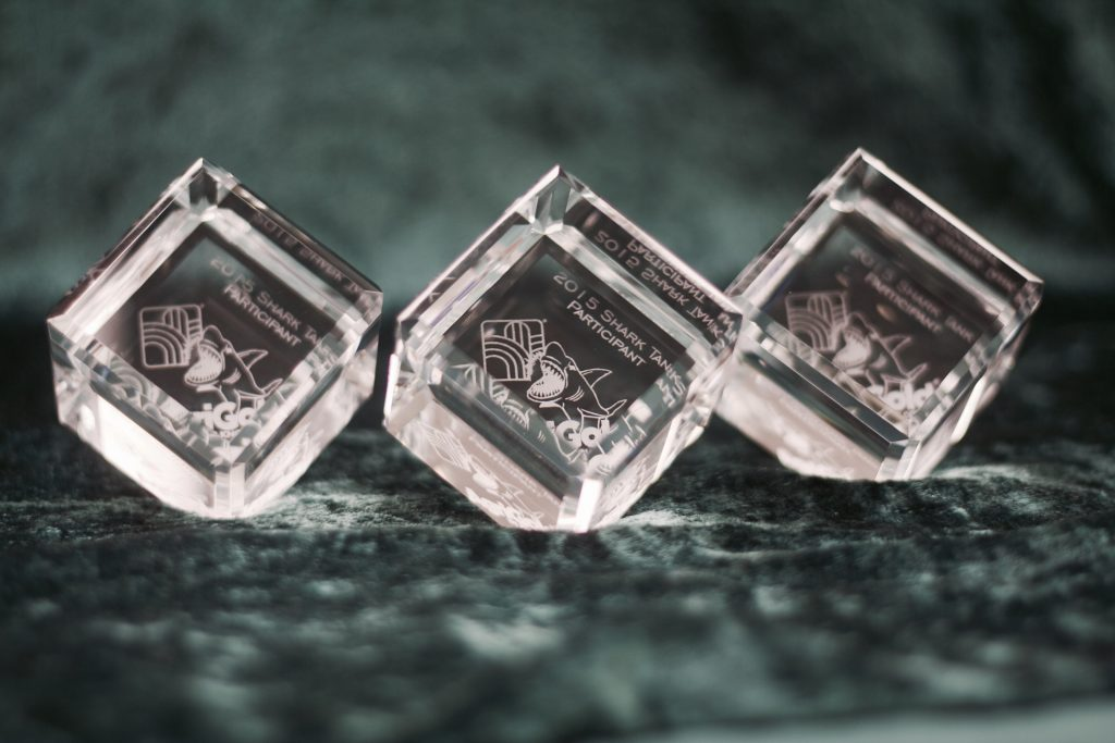 Laser Engraved Crystal Cubes