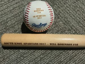 Laser Engraved Baseball and Mini Baseball Bat