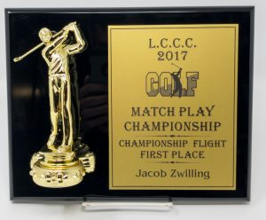 Laser Engraved Black Piano Finish Plaque with golfer attachment