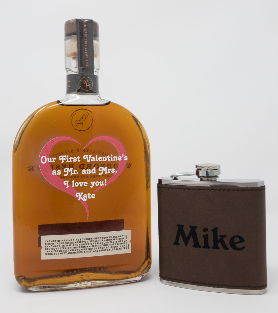 UV Printed Whiskey Bottle and Laser Engraved Flask