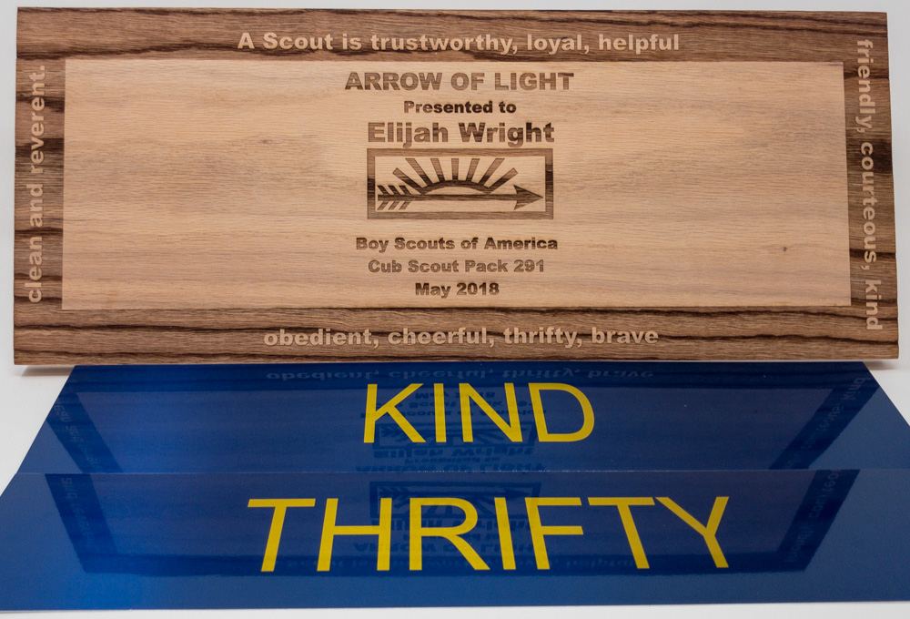 Laser Engraved Wood and Sublimated Metal