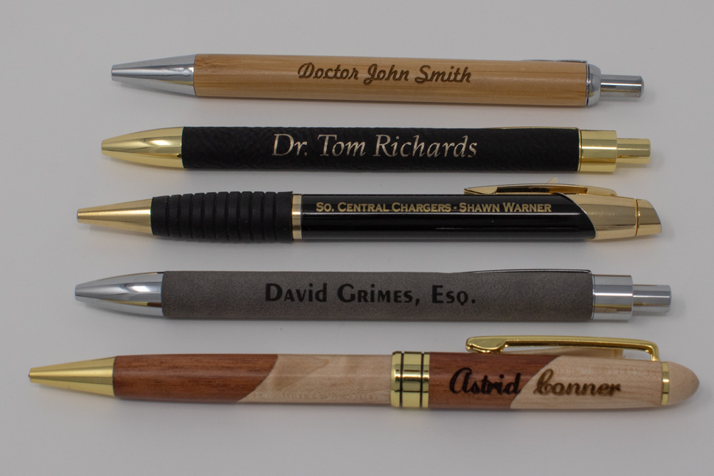 Custom Laser Engraved pens, many types