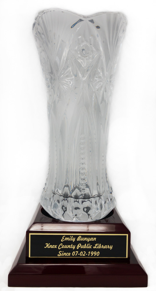 Laser Engraved Crystal Vase Award