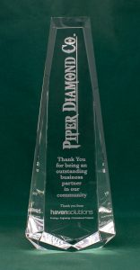 Crystal Spire Laser Engraved Award