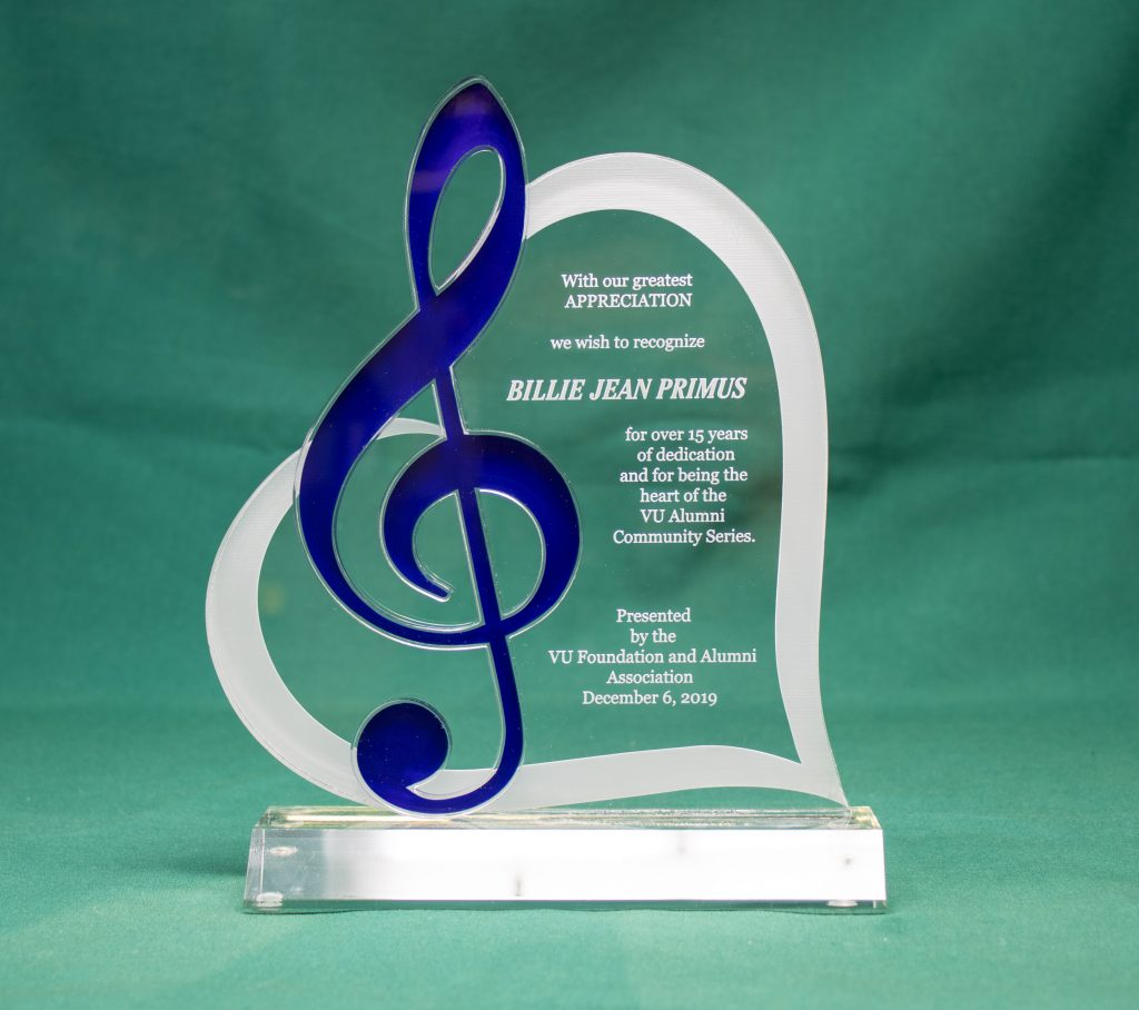 Custom Acrylic Award for Vincennes University 2019 Music Heart Award