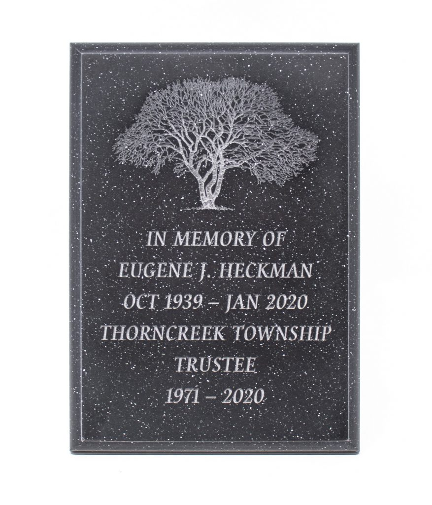 AcrylaStone Plaque, Black with White Permanent Outdoor Engraving